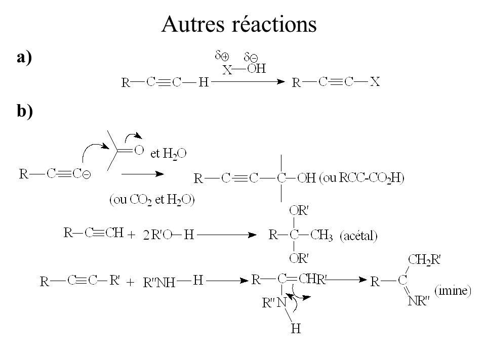 Autres réactions a) b)