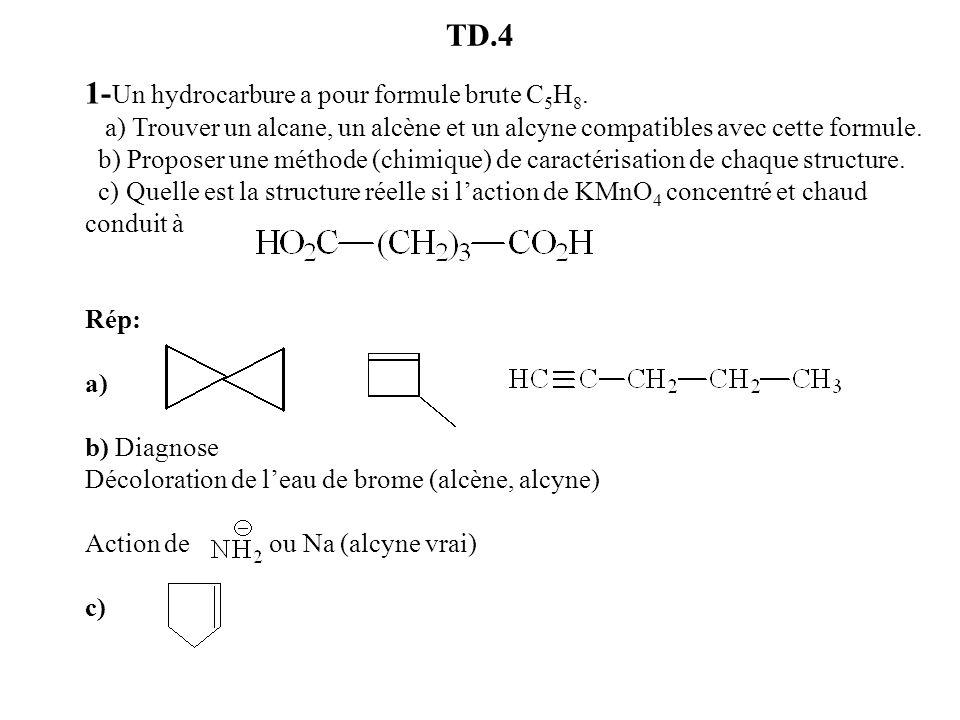1-Un hydrocarbure a pour formule brute C5H8.