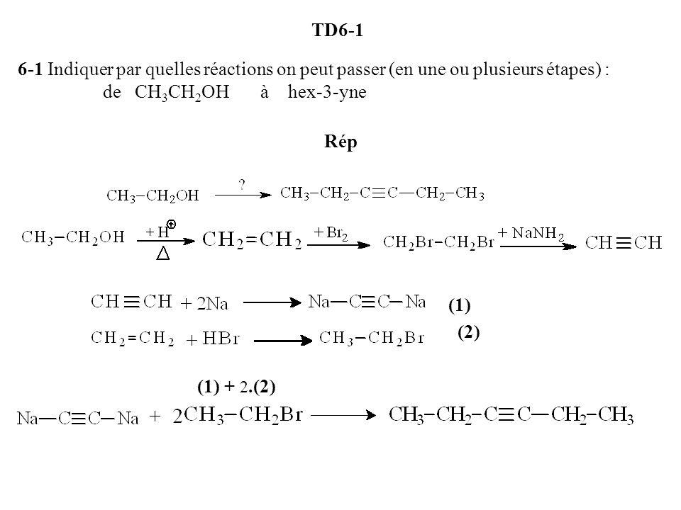 TD6-1 6-1 Indiquer par quelles réactions on peut passer (en une ou plusieurs étapes) : de CH3CH2OH à hex-3-yne Rép (1) (2) (1) + 2.(2)