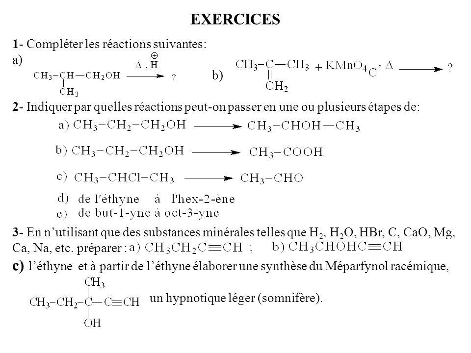 EXERCICES 1- Compléter les réactions suivantes: a) b) 2- Indiquer par quelles réactions peut-on passer en une ou plusieurs étapes de:
