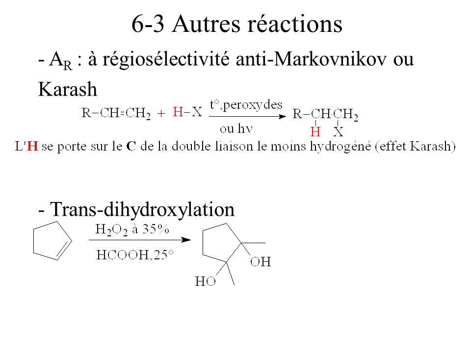 6-3 Autres réactions - AR : à régiosélectivité anti-Markovnikov ou Karash - Trans-dihydroxylation