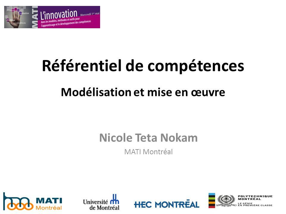 Référentiel de compétences Modélisation et mise en œuvre