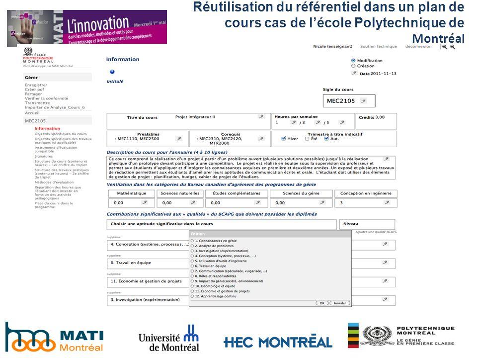 Réutilisation du référentiel dans un plan de cours cas de l'école Polytechnique de Montréal