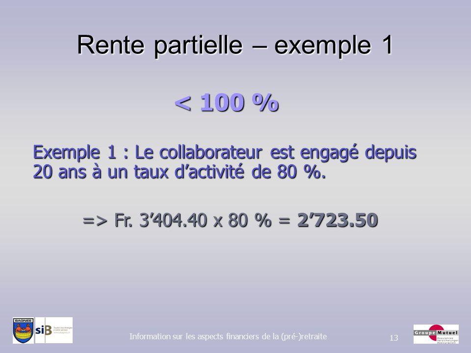 Rente partielle – exemple 1