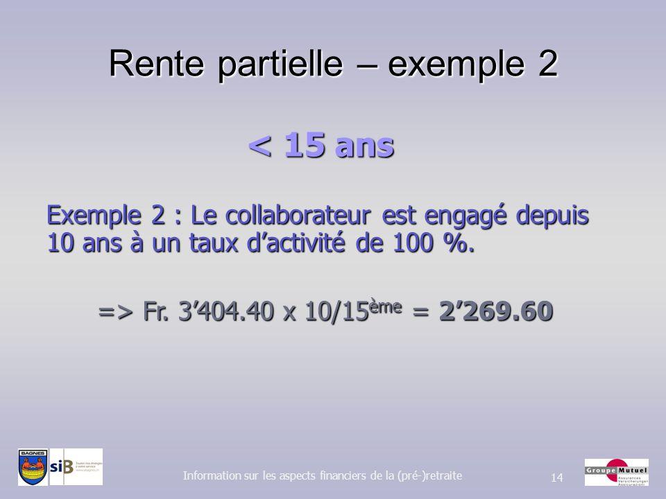 Rente partielle – exemple 2