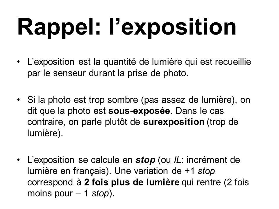 Rappel: l'exposition L'exposition est la quantité de lumière qui est recueillie par le senseur durant la prise de photo.