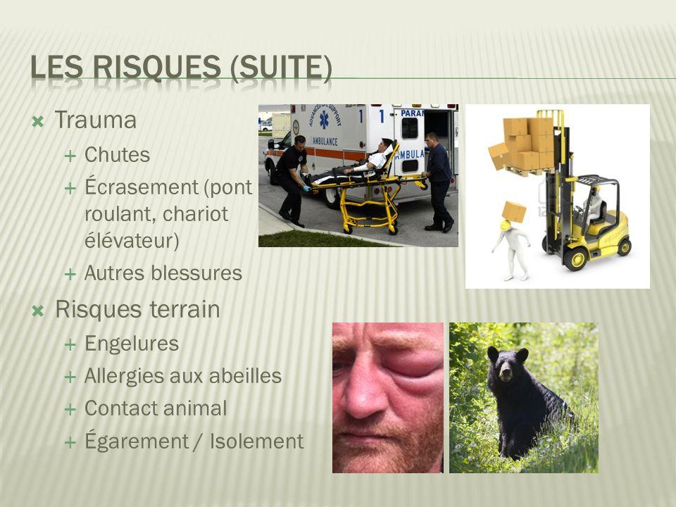 Les risques (suite) Trauma Risques terrain Chutes