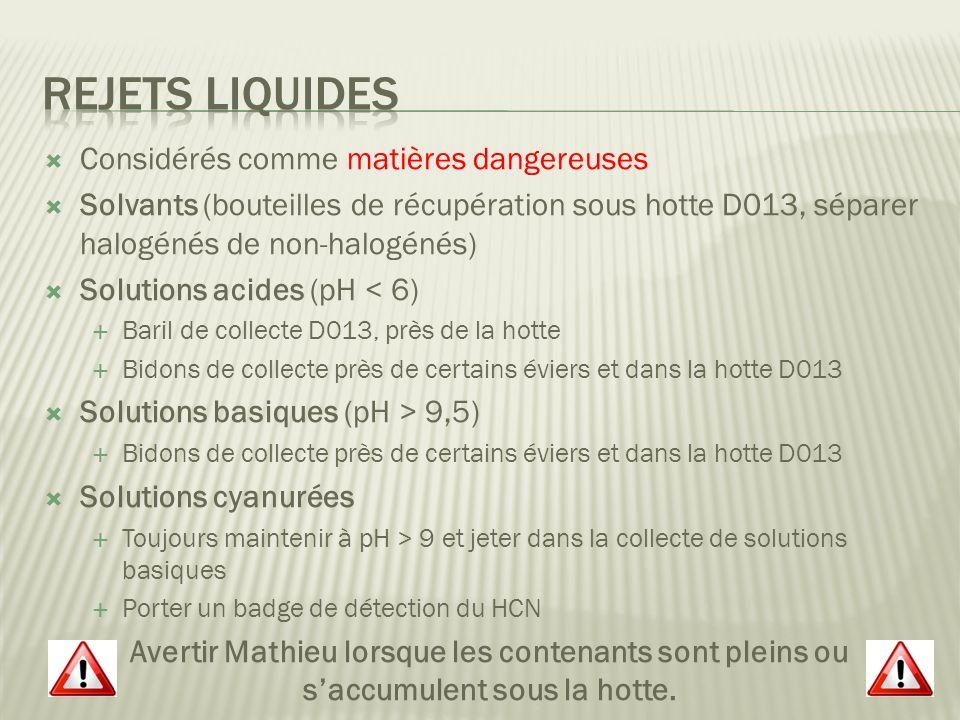 Rejets Liquides Considérés comme matières dangereuses