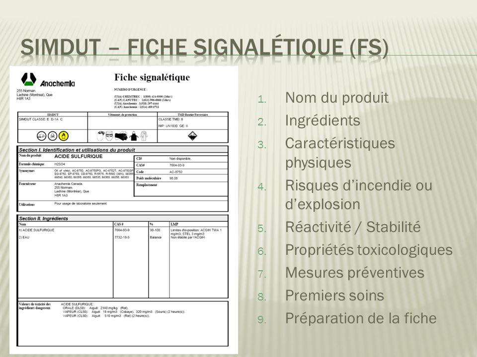 SIMDUT – Fiche signalétique (FS)