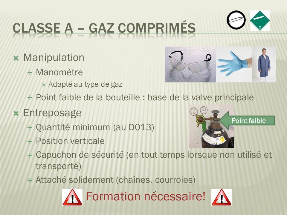 Classe A – Gaz comprimés