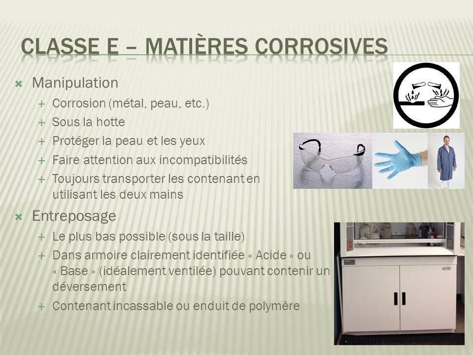 Classe E – Matières corrosives