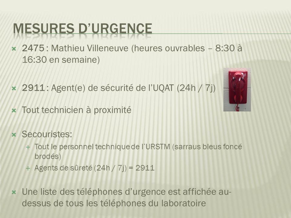 Mesures d'urgence 2475 : Mathieu Villeneuve (heures ouvrables – 8:30 à 16:30 en semaine) 2911 : Agent(e) de sécurité de l'UQAT (24h / 7j)