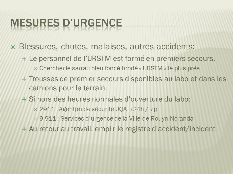 Mesures d'urgence Blessures, chutes, malaises, autres accidents: