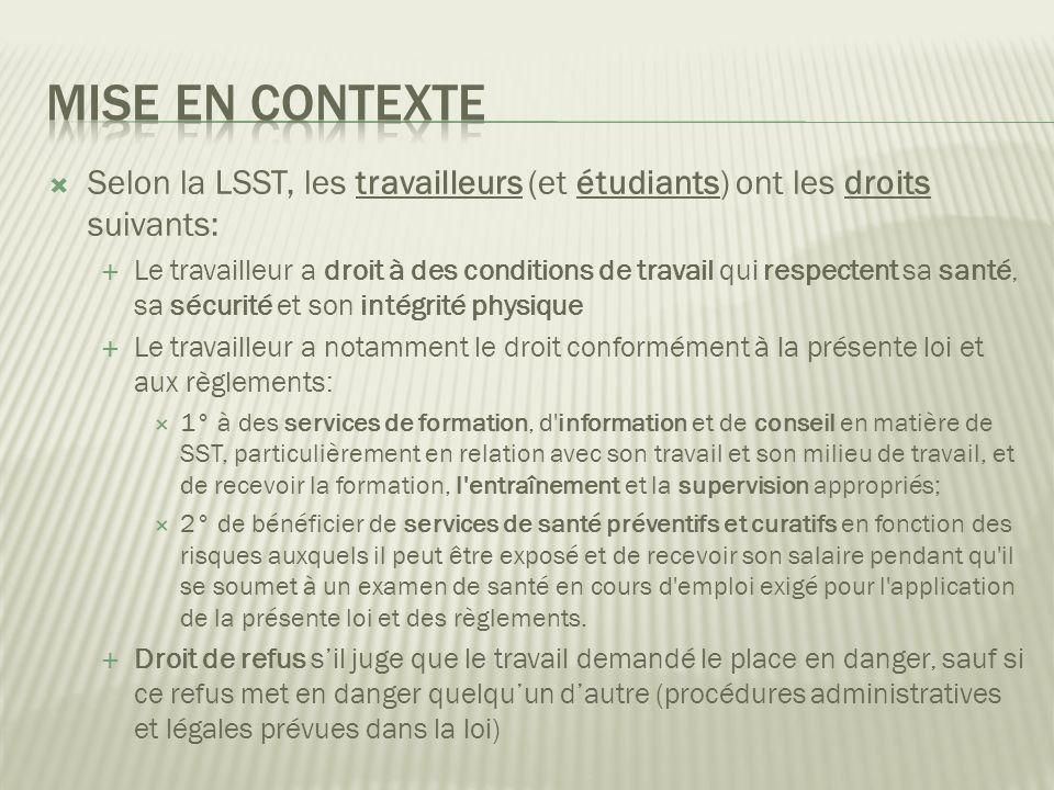 Mise en contexte Selon la LSST, les travailleurs (et étudiants) ont les droits suivants: