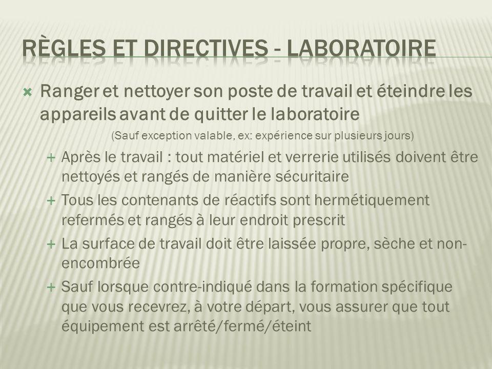 Règles et directives - Laboratoire