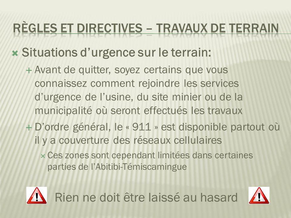 Règles et directives – Travaux de terrain