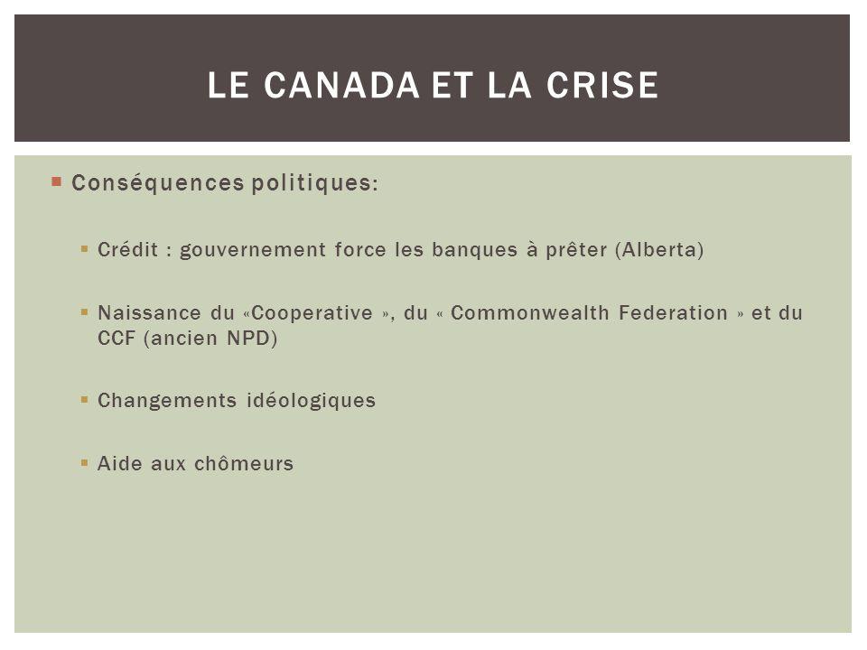 Le Canada et la crise Conséquences politiques: