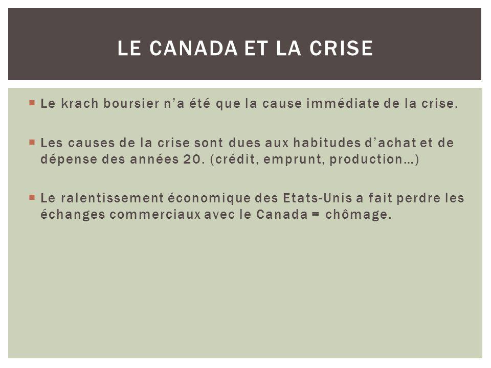 Le Canada et la crise Le krach boursier n'a été que la cause immédiate de la crise.