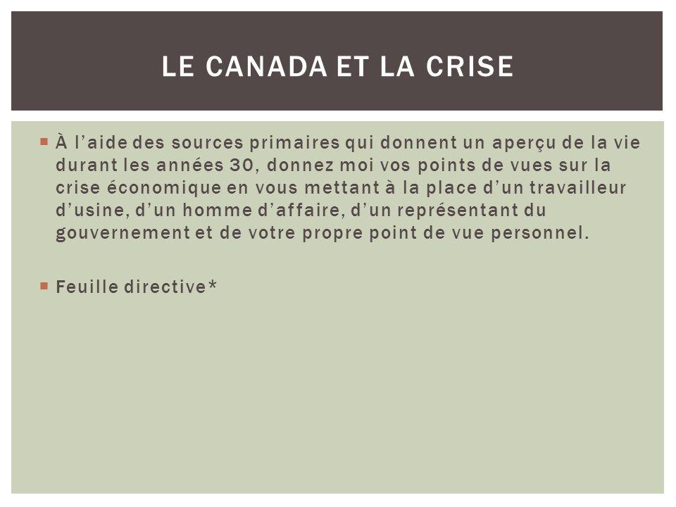 Le Canada et la crise