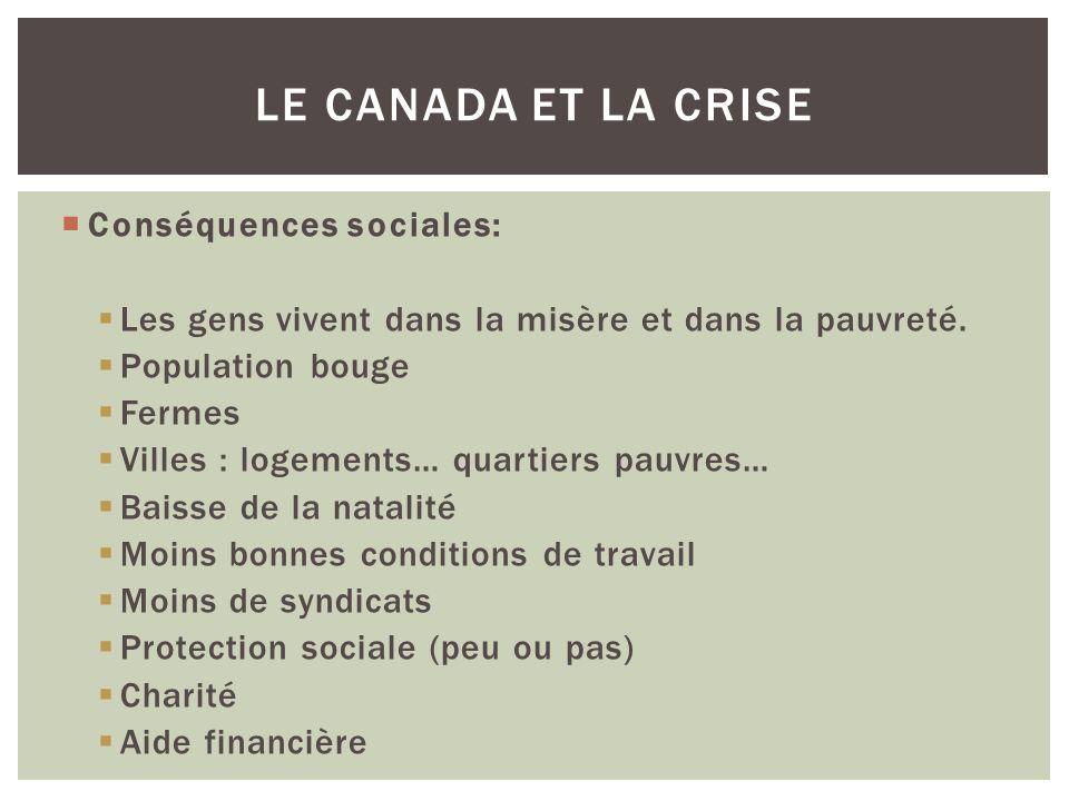 Le Canada et la crise Conséquences sociales: