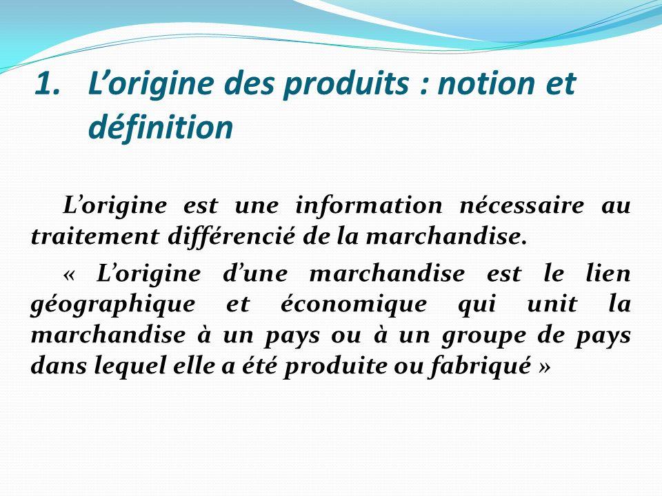 L'origine des produits : notion et définition