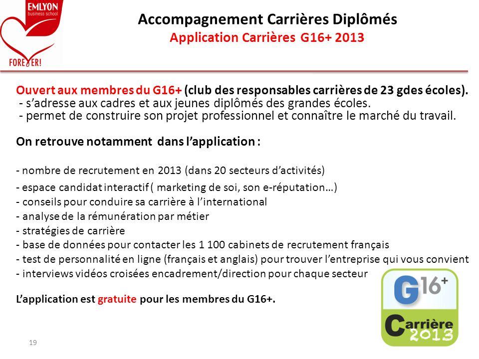 Accompagnement Carrières Diplômés Application Carrières G16+ 2013
