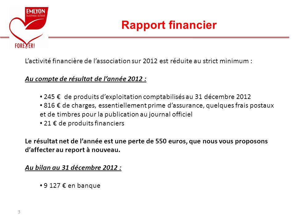 Rapport financier L'activité financière de l'association sur 2012 est réduite au strict minimum : Au compte de résultat de l'année 2012 :