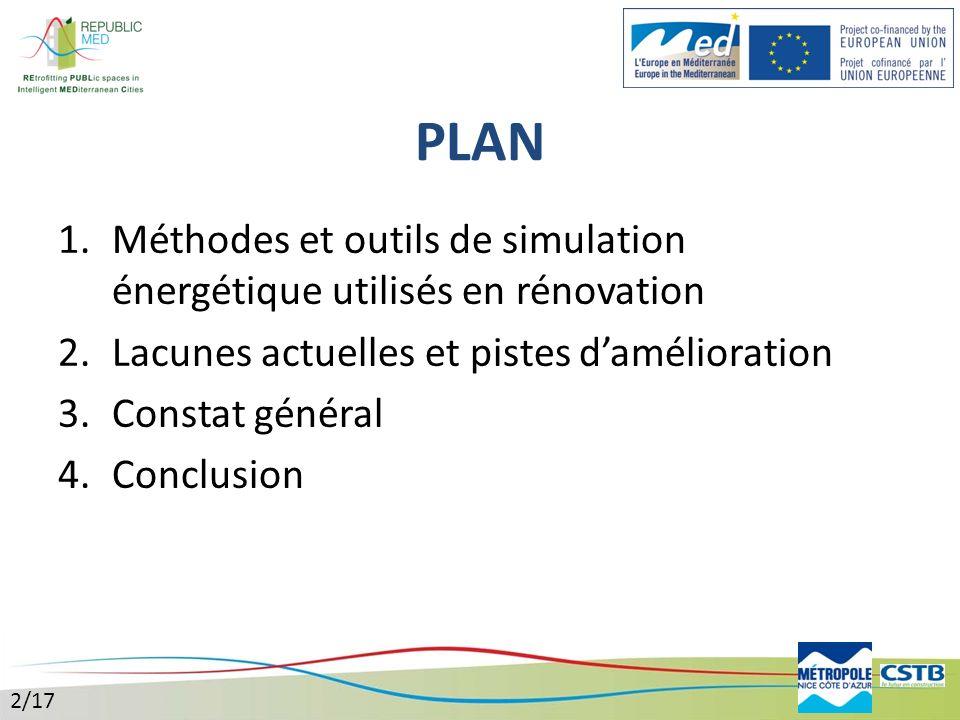 PLAN Méthodes et outils de simulation énergétique utilisés en rénovation. Lacunes actuelles et pistes d'amélioration.
