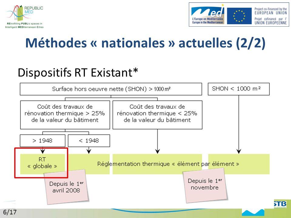 Méthodes « nationales » actuelles (2/2)