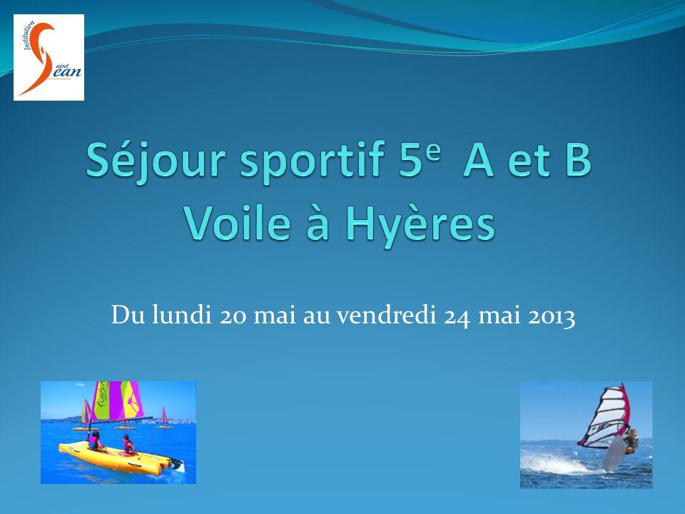 Séjour sportif 5e A et B Voile à Hyères