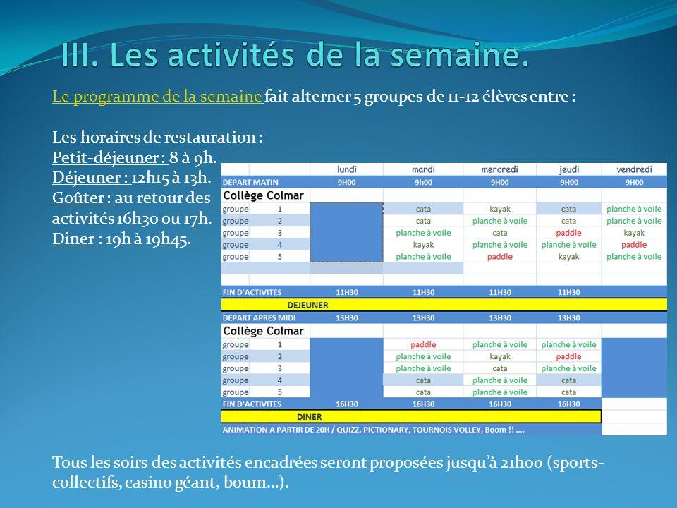 III. Les activités de la semaine.