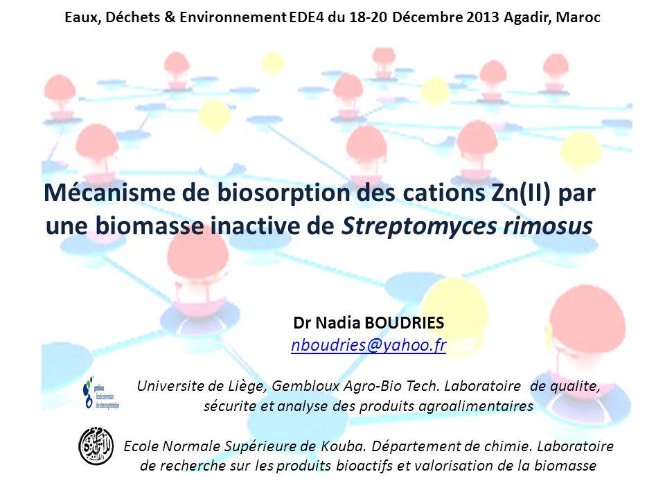 Mécanisme de biosorption des cations Zn(II) par