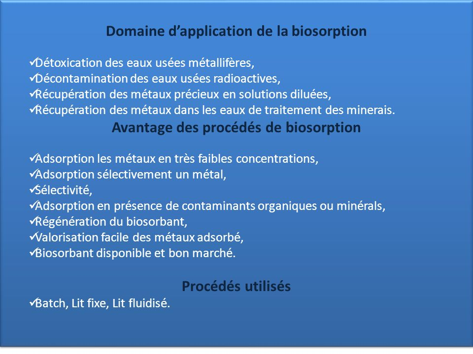 Domaine d'application de la biosorption