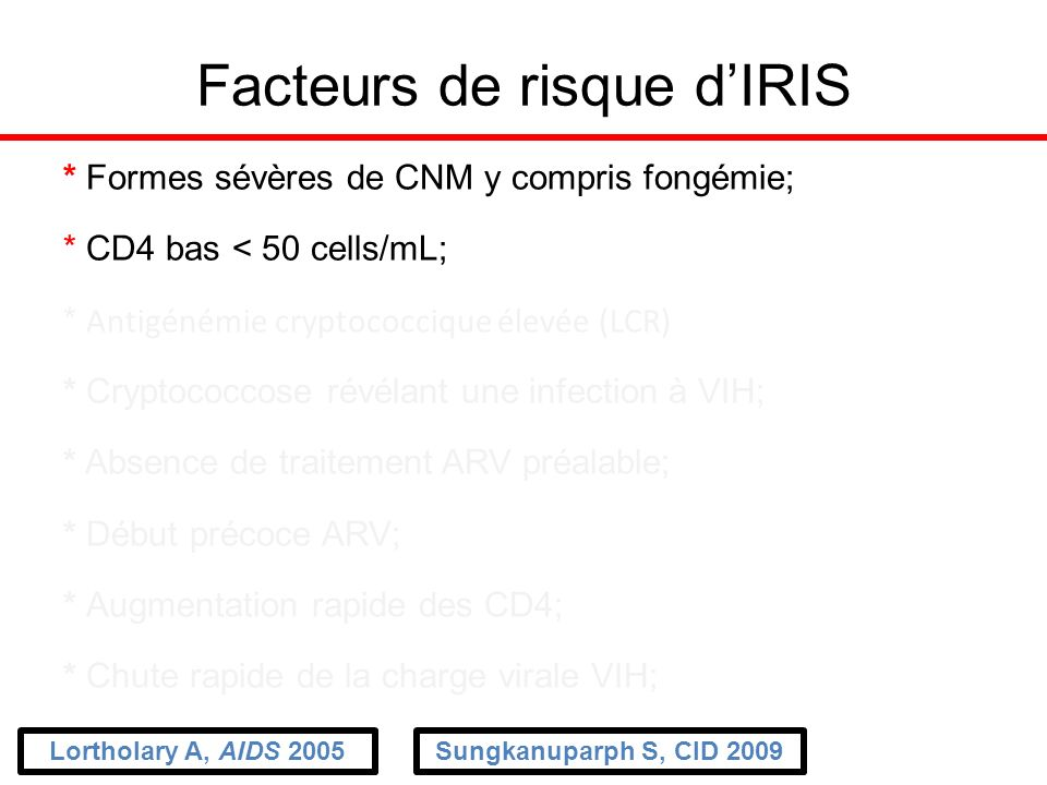 Facteurs de risque d'IRIS