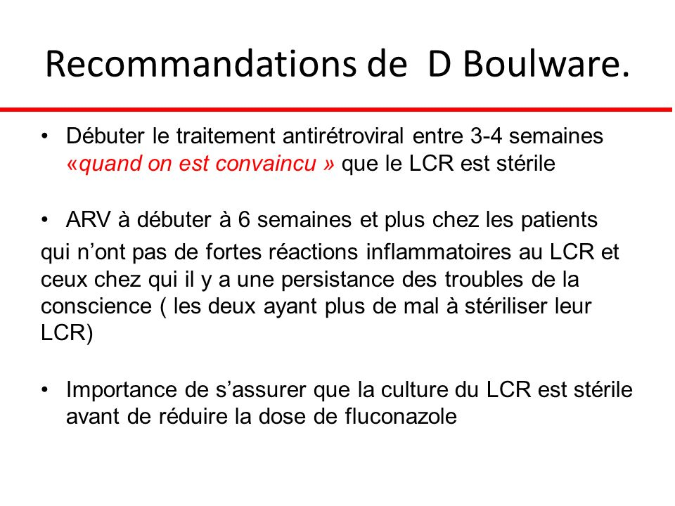 Recommandations de D Boulware.