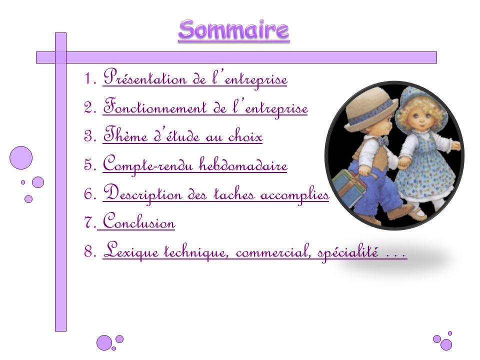 Sommaire 1. Présentation de l'entreprise. 2. Fonctionnement de l'entreprise. 3. Thème d'étude au choix.