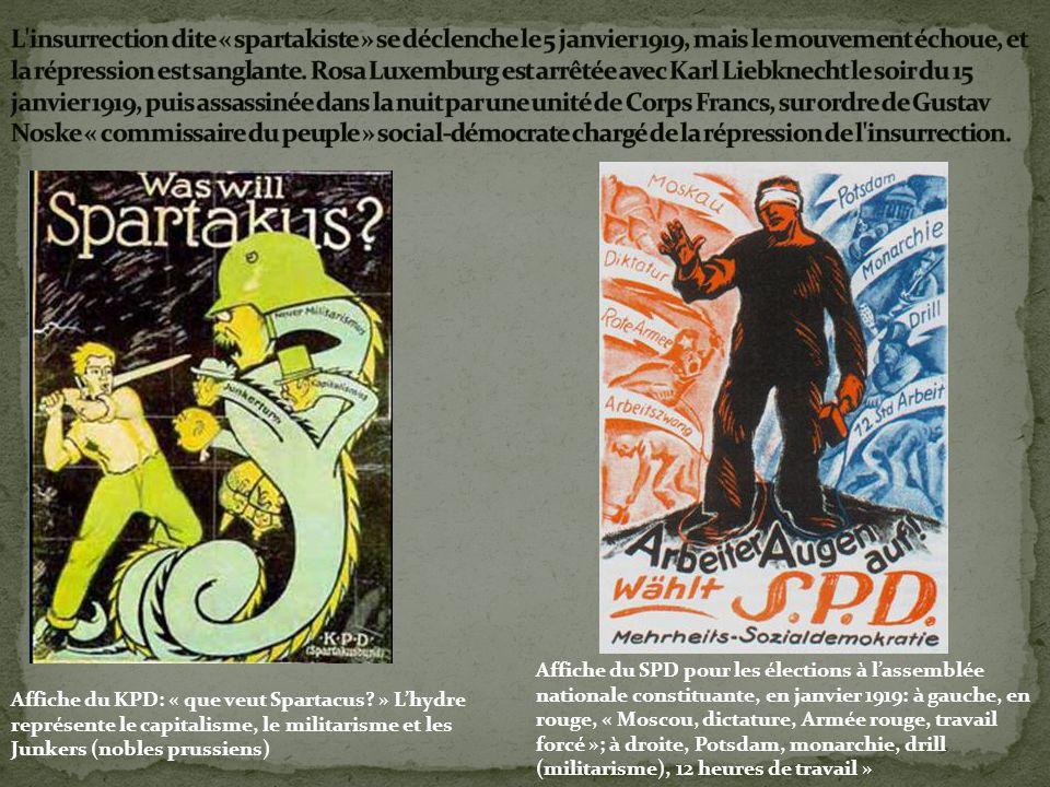 L insurrection dite « spartakiste » se déclenche le 5 janvier 1919, mais le mouvement échoue, et la répression est sanglante. Rosa Luxemburg est arrêtée avec Karl Liebknecht le soir du 15 janvier 1919, puis assassinée dans la nuit par une unité de Corps Francs, sur ordre de Gustav Noske « commissaire du peuple » social-démocrate chargé de la répression de l insurrection.
