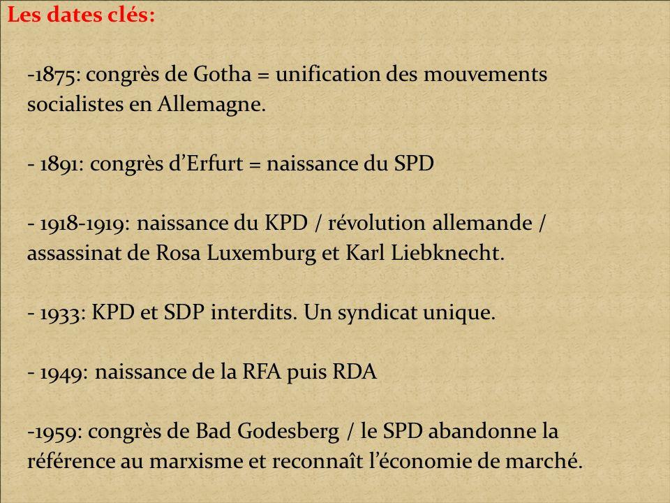 Les dates clés: -1875: congrès de Gotha = unification des mouvements. socialistes en Allemagne. - 1891: congrès d'Erfurt = naissance du SPD.