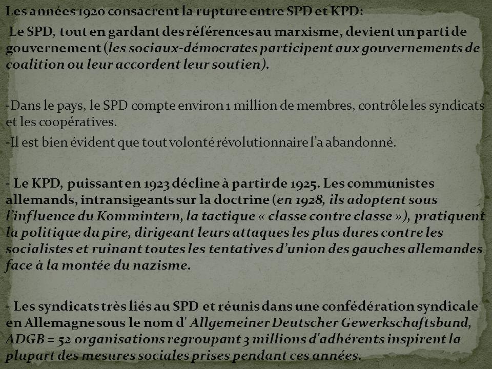 Les années 1920 consacrent la rupture entre SPD et KPD: