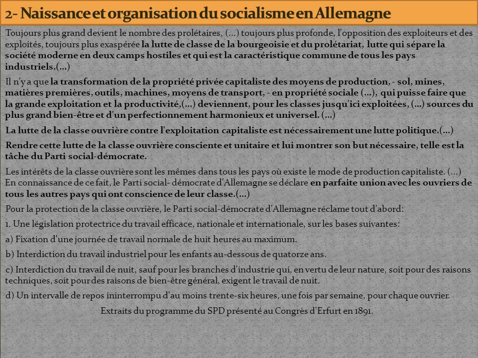 2- Naissance et organisation du socialisme en Allemagne