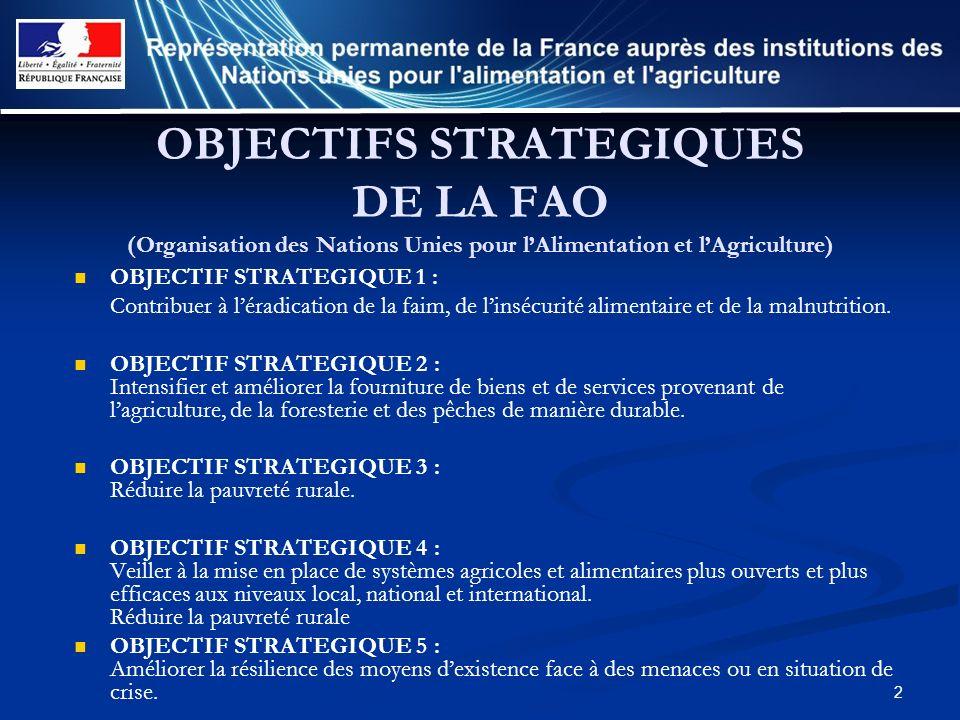 OBJECTIFS STRATEGIQUES DE LA FAO (Organisation des Nations Unies pour l'Alimentation et l'Agriculture)