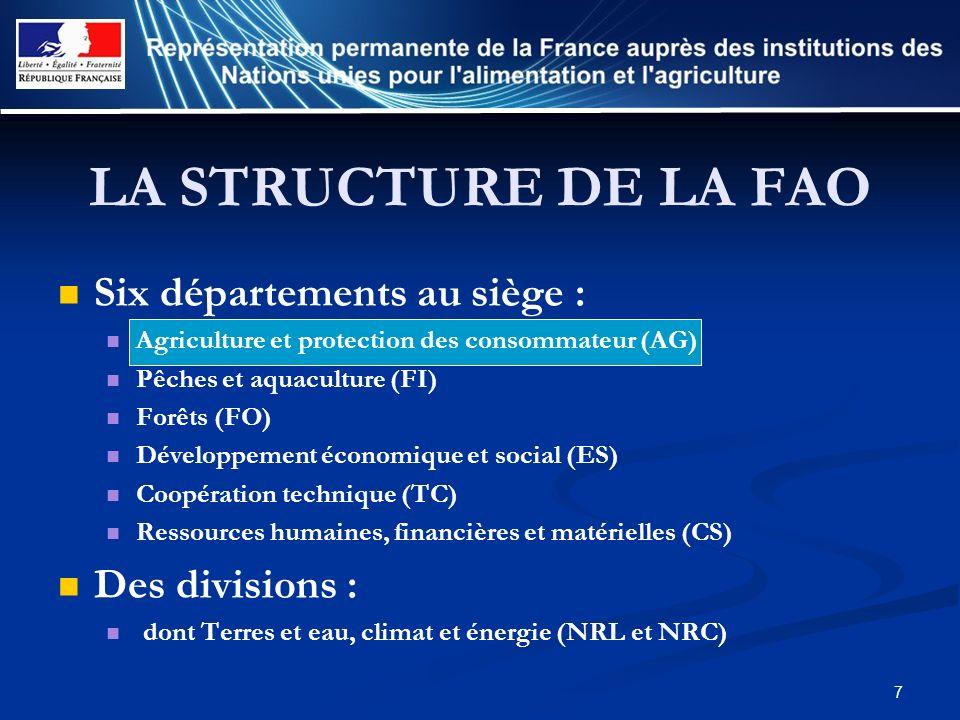 LA STRUCTURE DE LA FAO Six départements au siège : Des divisions :