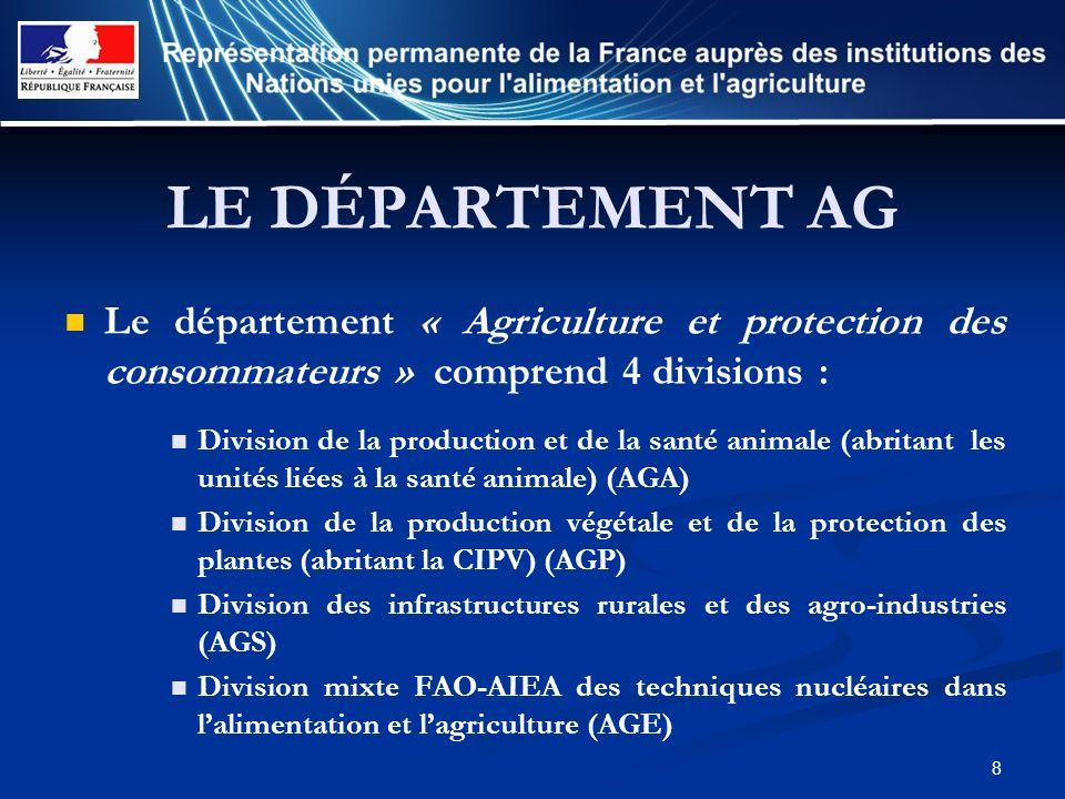 LE DÉPARTEMENT AG Le département « Agriculture et protection des consommateurs » comprend 4 divisions :