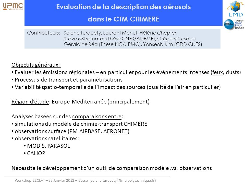 Evaluation de la description des aérosols
