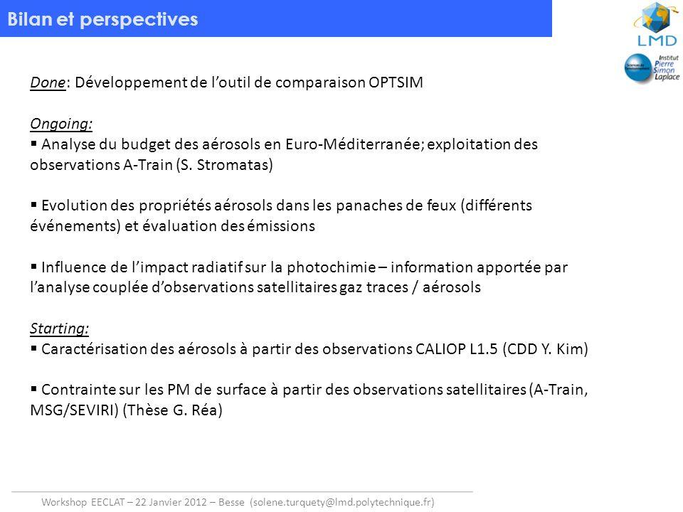 Bilan et perspectives Done: Développement de l'outil de comparaison OPTSIM. Ongoing: