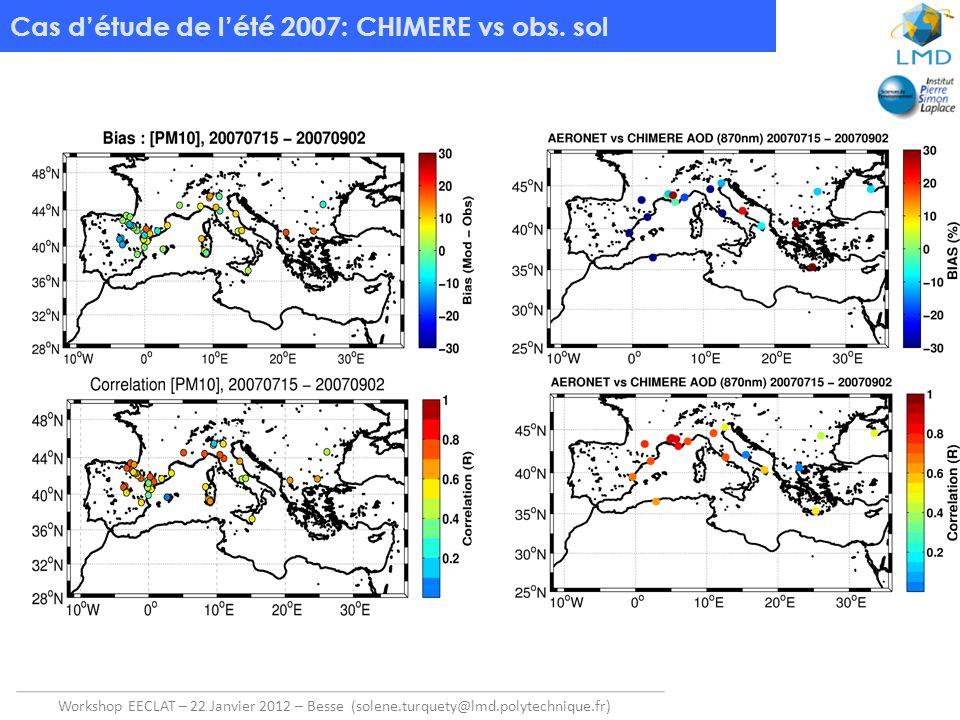 Cas d'étude de l'été 2007: CHIMERE vs obs. sol