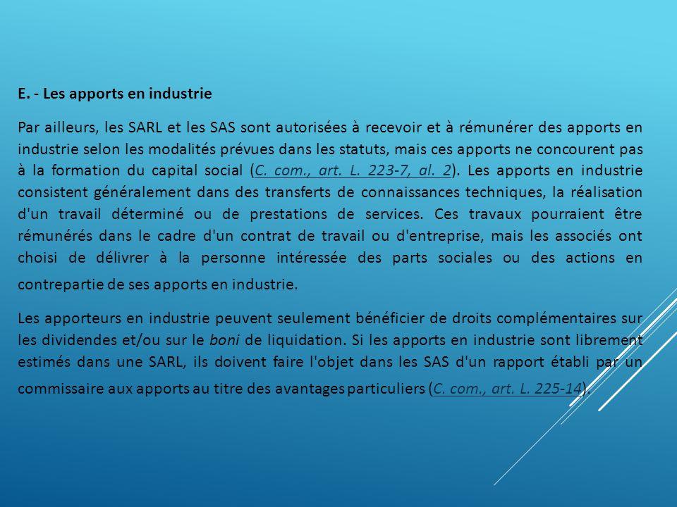 E. - Les apports en industrie