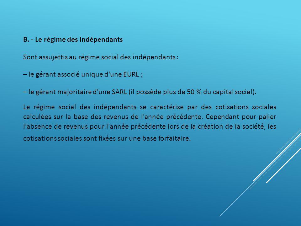 B. - Le régime des indépendants