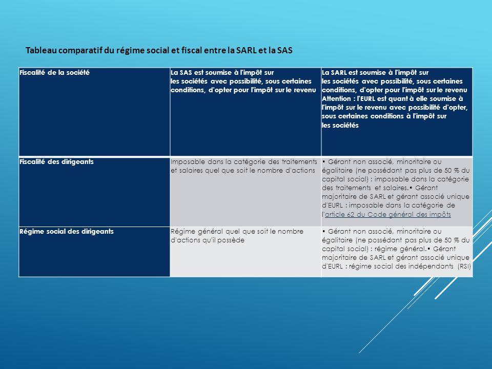 Tableau comparatif du régime social et fiscal entre la SARL et la SAS