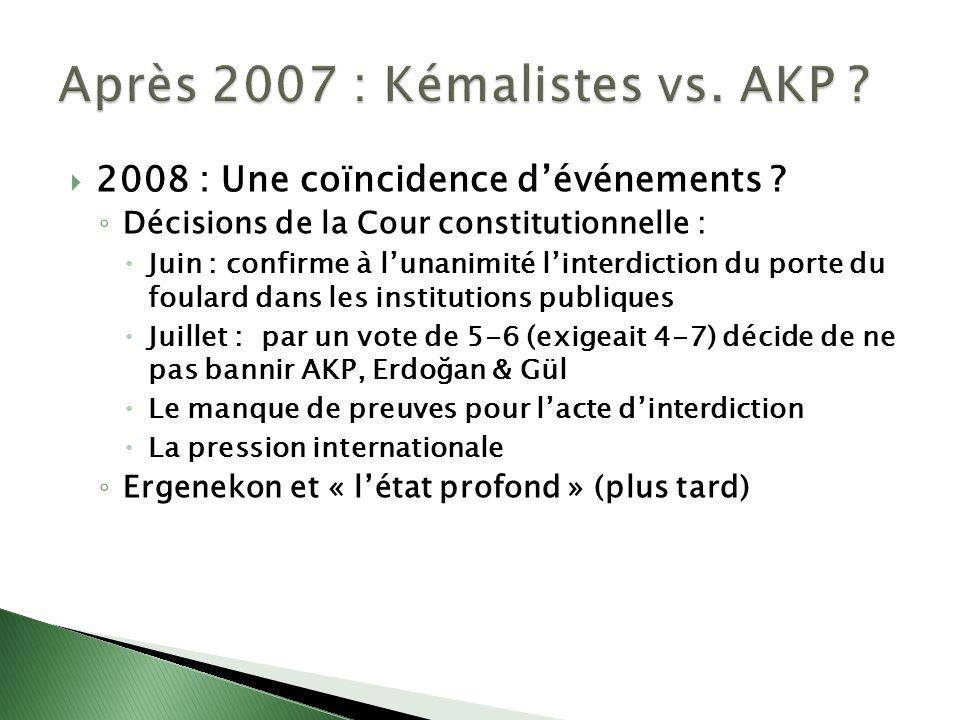 Après 2007 : Kémalistes vs. AKP